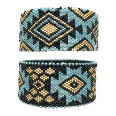 Bracelet miyuki Lima, bleu, noir, doré, amerindien, circulaire