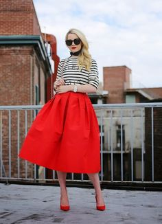 What are some fresh ways to style a midi skirt for summer? via @WhoWhatWear