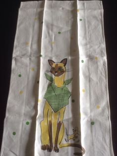 Vintage linen kitchen towel with Siamese cat