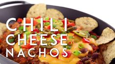 Chili Cheese Nachos—made vegan. They're also gluten-free, soy-free, and have Vegan Mexican Recipes, High Protein Vegetarian Recipes, Healthy Recipes On A Budget, Healthy Breakfast Recipes, Raw Food Recipes, Vegan Appetizers, Appetizer Recipes, Chili Cheese Nachos, Food For A Crowd