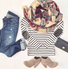 What a cute fall outfit idea - boyfriend jeans, striped shirt, scarf and…