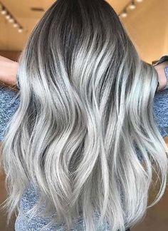 Gorgeous Silver Ash Blonde Hair Color Trends in Year 018 Explore this link for awesome shades of sil Change Hair Color, Hair Color Dark, Cool Hair Color, Silver Hair Colors, Hair Colours, Pelo Color Plata, Silver Blonde Hair, Hair Color Highlights, Gorgeous Hair