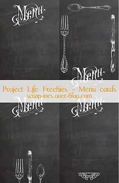 Free printable Project Life journaling cards : Chalk vintage menu. (Menu and cutlery patterns from the Graphic's Fairy) / Etiquettes gratuites à imprimer pour Project Life. // Download and enjoy at / A télécharger sur : scrap-ines.over-blog.com
