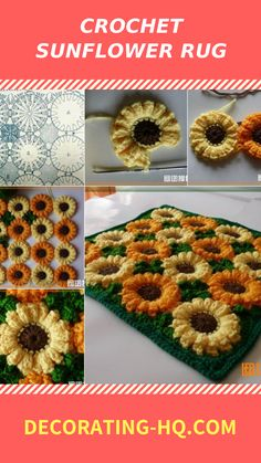 A crocheted rug can instantly warm up any room in your home. From the living room to the bathroom and every room in between, these crocheted rugs are Crochet Sunflower, Crocheted Flowers, Flower Granny Square, Spring Festival, Chrochet, Diy Crochet, Tree Skirts, Crochet Projects, Food And Drink
