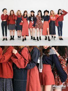 korean fashion similar twin look red navy blue bright casual shoes black skirt shirt dress