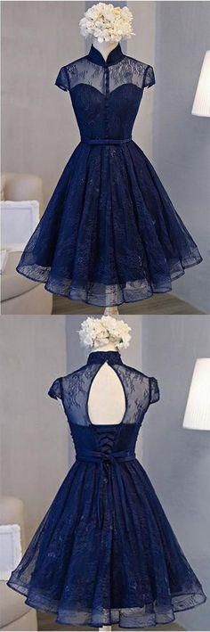 Vintage Homecoming Dresses,Lace Homecoming Dresses,Navy Blue Homecoming Dress,Short Prom Dress,Short Sleeve Homecoming Dresses,Homecoming Dress For Teens #HomecomingDress
