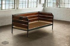 Modern Reclaimed Redwood Daybed or Couch, Steel Frame, Custom, 'Meyers' Series