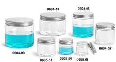 Clear plastic jars w. no-rust aluminum caps.   $14.16 for 12, 12oz jars. SUGAR SCRUB. SAFE in the shower.