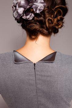 satin detail on the grey dress by MARLENES TOECHTER
