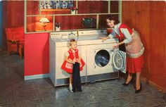 Tick Infested Undergrowth and Other Minor Thrills brought to you in Zestyvision. Vintage Housewife, Vintage Appliances, Vintage Laundry, Crazy Kids, Advertising Design, Washer And Dryer, Vintage Ads, Housekeeping, Pet Care