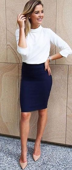 #fall #outfits White Top + Black Pencil Skirt + Nude Pumps
