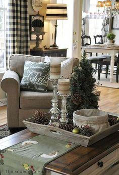 a cozy family room for christmas, christmas decorations, seasonal holiday decor