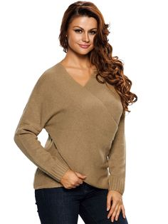 Roswear Womens Chunky Cross Long Sleeve Wrap V Neck Tunic Pullover Sweater  Khaki XLarge     Be sure to check out this awesome product. d5ecd1e94