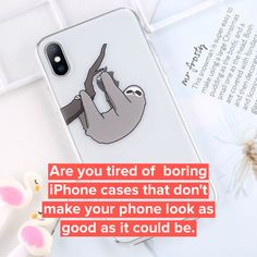 Transparent Cute Cartoon Silicone Phone Case For iPhone Silicone Phone Case, Stick It Out, Design Case, Cute Cartoon, Cute Animals, Electric, Iphone Cases, Touch, Make It Yourself