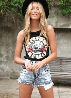 Black Sleeveless Tank with Guns n Roses Print Front,  Top, distressed tank  sleeveless  print top, Casual