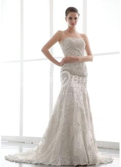 Beaded Sheath Strapless Embroidery Wedding Dress Latest