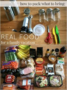 How to shop and pack for a family vacation - with real food, high quality, healthy, Paleo-friendly choices - grain-free, gluten-free, low-sugar, and minimally processed foods.