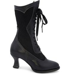 Victorian fashion meets the modern era in these Abigale Victorian Inspired Leather & Lace Boots in Black by Oak Tree Farms Vintage Style Shoes, Vintage Boots, Winter Fashion Boots, Fashion Shoes, Fashion Dresses, Women's Fashion, Gothic Heels, Leather And Lace, Leather Boots