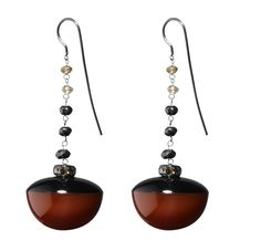 Hanging earrings composed of two «pearls» Carnelian/ Onyx, with black cognac and brown/ red diamonds. #MurielGrateau #jewellery