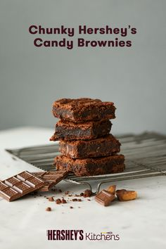 These Chunky HERSHEY'S Candy Brownies will not disappoint chocolate lovers. Made with HERSHEY'S Cocoa, this recipe can be made your own by adding any combination of your favorite HERSHEY'S or REESE'S candy to it. Try making these brownies with leftover Halloween candy!