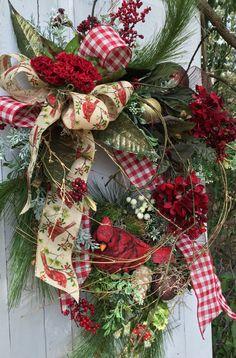 Cardinal Christmas Wreath Traditional Christmas Woodland