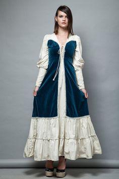 1970s Gunne Sax prairie dress blue velvet cotton lace up front bishop sleeves XS…