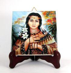 Saint Kateri Tekakwitha Catholic wall hanging art ceramic tile holy religious icon Mod. 1