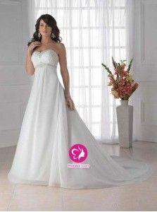 Empire Col en cœur Traîne moyenne Robe de mariée en Mousseline polyester avec Perle Ruché(FR0257618)