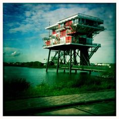 REM eiland Amsterdam, nice restaurant with a perfect view. Former drilling platform.