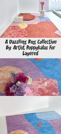 A dazzling rug collection by artist Poppykalas for Layered - Magic Carpet Diy Carpet, Magic Carpet, Modern Carpet, Art Deco, Stain Remover Carpet, Carpet Installation, Textured Carpet, Carpet Stairs, Carpet Runner