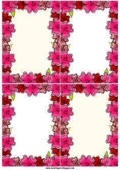 FREE #printable #journaling cards with red and pink #flower borders