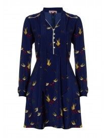 185 - Long Sleeved Lover Dress - Navy Graduated Bird and Bow