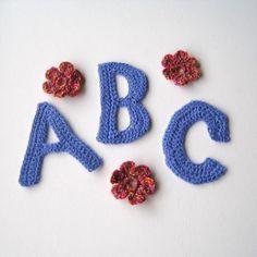 crochet letter alphabet from TakeNine Crochet Alphabet Letters, Letter J, Letters And Numbers, Baby Dolls, Art Decor, Embellishments, Crochet Earrings, Stuffed Animals, Crochet Ideas
