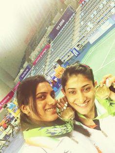 Ashwini Ponnappa and PV Sindhu at Asian games 2014