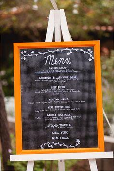 Orange framed chalkboard menu