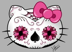 Sugar Skull Art Wallpaper   Hello Kitty Sugar Skull by Gwilwilethel