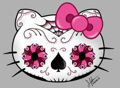Sugar Skull Art Wallpaper | Hello Kitty Sugar Skull by Gwilwilethel