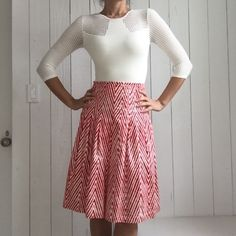 Samantha Sung Skirt A-line, pleated, cotton stretch skirt. Red and white tie died chevron print. Tag is a size 2 but runs big and fits a 4 better. Samantha Sung Skirts A-Line or Full