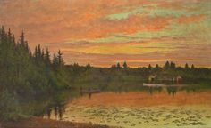 """""""Darrah's Pond, Litchfield, N.H.,"""" Edward Hill, 1895, oil on canvas, 26.25 x 42"""", New Hampshire Historical Society."""