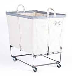 "Katrina's favorite so far;  21-1/2"" W x 28-1/2"" H x 31-1/2"" L. 6 Bushel Canvas 3-Section Laundry Bin Natural Canvas with Gray Vinyl Trim"