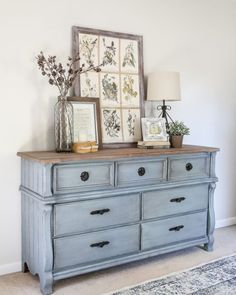 French Blue Dresser Makeover Fusion Mineral Paint in Champness and Homestead House Wax in Espresso. Refurbished Furniture, Farmhouse Furniture, Repurposed Furniture, Vintage Furniture, Rustic Furniture, Painted Bedroom Furniture, Vintage Dressers, Outdoor Furniture, Blue Distressed Furniture