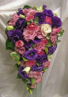 Melissa M - Teardrop Bouquets - Roses and Lisianthus complimented with soft gum.