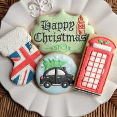 Untitled | by bambellacookies Fancy Sugar Cookies, Christmas Sugar Cookies, Iced Cookies, Cake Cookies, Christmas Goodies, Christmas Fun, Holiday, Cookie Decorating Icing, London Christmas