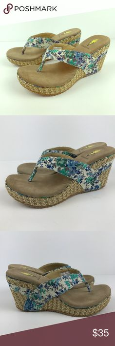 Volatile Woman's Blue Floral Wedges Size 8 These wedges have never been worn, thanks for looking! Volatile Shoes Wedges