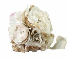 Lillian Rose Burlap and Flower Bouquet, 7.5-Inch -- Want to know more, click on the image.
