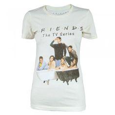 Womens Retro Friends the TV Show T Shirt Biege