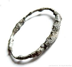 organic heavy raw bracelet sterling silver by jolantakrajewska