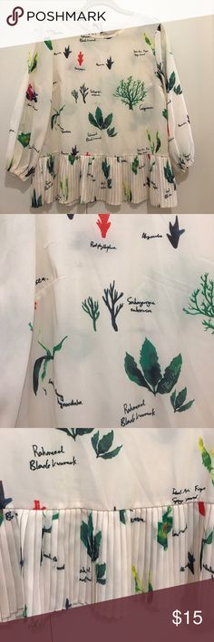 """Le Jardin White Floral Blouse EUC, unfortunately it just doesn't fit me as well as I had hoped.  Gorgeous feminine pattern with all kinds of plants and herbs. Bust 19"""", length 23"""". No tags but feels like a polyester blend. Open to REASONABLE offers. Le Jardin Tops Blouses"""