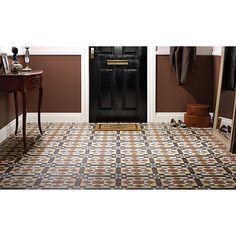 Wickes Dorset Marron Patterned Ceramic Wall & Floor Tile 316 x Victorian Hallway Tiles, Tiled Hallway, Victorian Bathroom, Kitchen Floor Tile Patterns, Floor Patterns, Shower Floor Tile, Ceramic Floor Tiles, Wet Room Flooring