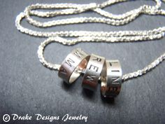 Three 3 name necklace with kids names by drakedesignsjewelry, $69.00